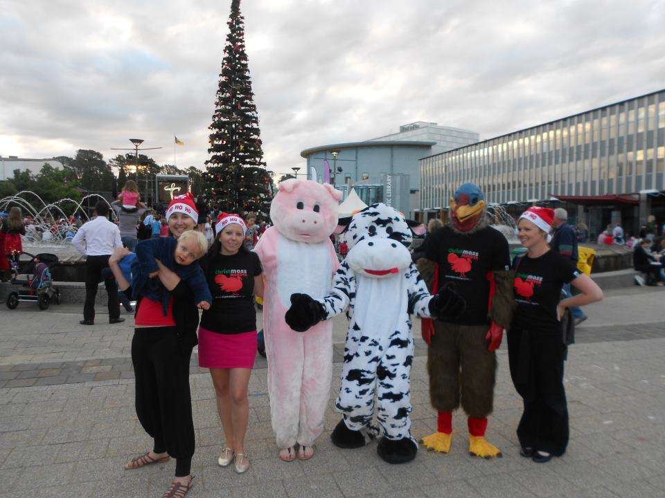Tree lighting Xmas vegan outreach